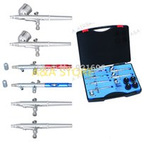 Wholesale 6Pcs Professional Airbrush Kit cc Gravity Feed cc Suction Airbrush mm mm
