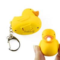 Cheap Good Quality Cute Rubber Duck LED flashlight Quacks Keychain Toy Christmas gift Free Shipping