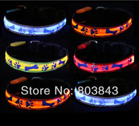 Wholesale Fashion Classic Waterproof Lattice Bone LED Glow Flashing Pet Dog Collar Night Safety Necklace S M L XL