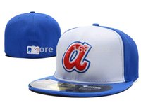 atlanta fitted - Men s Atlanta Braves on field fitted cap color blocking full closed design baseball hat in white blue