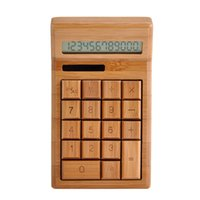 Wholesale 2015 New Creative Gift Natural Bamboo Solar Calculator Green Office