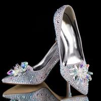 Wholesale Silver Beautiful Cinderella Crystal Bridal Wedding Shoes High Heels Rhinestone Formal Occasion Butterfly Cinderella Crystal Shoes NO