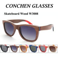 acrylic wood frame - 2015 High quality skateboard wood sunglasses W3008 hot sale polarized women men wooden shades with matel spring hinge
