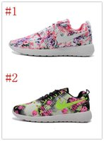barefoot design shoes - New Design Roshe Run Floral Flower Women Men Running Shoes Hot Sale London Mesh Barefoot Sports Sneakers Casual Eur Size