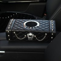 Wholesale Pujing Automobile Within Decorate Articles Rhinestone Diamond An Crown Vehicle Form Napkin Set Seat Type Real Factory PU Tissue Box