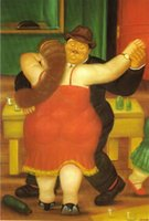 Wholesale Figure oil painting Couple Dancing Fernando Botero s painting hand painted on linen