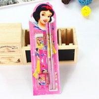 drawing ruler - Cheapest Mix Color Children Kids Prizes Stationery Gifts School Stationery Set Pencils knife eraser ruler pencil sharpener M1968