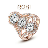 big band samples - 015 ROXI Christmas Gift Classic Genuine Austrian Crystals Sample Sales Rose Gold Plated Three Big Stones Ring Jewelry Party OFF