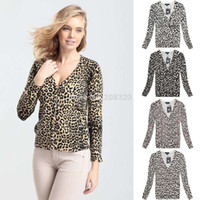 animal print - NEW Cute Women s Sweater Leopard Animal Print Cardigans Fashion Sweater Long Sleeves V Neck Cardigans Size L XL V