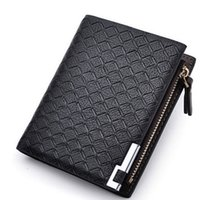 Wholesale New Multifunction Man Wallets Colors Mens PU Leather Zipper Business Wallet Card Holder Pocket Purse Hot Plaid Pounch Fashion
