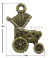 antique pram - Zinc Alloy Pendant Setting Fashion Baby Pram antique bronze color plated nickel lead cadmium free