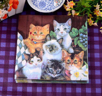 Wholesale Hot sale cute puppy and cats paper napkins Decoupage decorated for wedding party paper wood tissues Size cm
