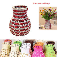 Wholesale Wicker and Wire home rustic flower pot rattan flower vase vintage storage Colorful basket Home decor decoration