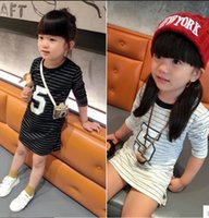 ball full colour printed - 2015 Fashion Hot Sale Girls Long T shirts Cross Striped Neck Dress For Children Figure Printed Front Kids Casual Dresses Two Colours CR208