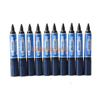 Wholesale 10PCS Dual Heads Marking Pen Marker Waterproofink Bullet Axe Type Pen Blue Blue