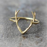 antler horn - 30PCS R005 hot sale Simple Deer Antler stag ring reindeer deer horn ring cute animal ring buckhorn ring jewelry