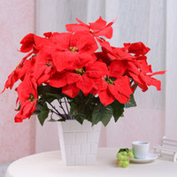 artificial flowers poinsettia - Red Artificial flower silk flower christmas poinsettia flower festive flowers