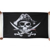 Wholesale 2015 Halloween Black Pirate Flags With Grommets Decoration Skull Cross Crossbones Sabres Swords Jolly Roger Banner cm