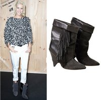 Cheap Suede Fringe Wedge Boots | Free Shipping Suede Fringe Wedge ...