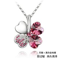 RHINESTONE - sterling Necklaces Four Leaf Clover Pendant Necklace Lovers Gift Cheap Crystal Rhinestone Pendant Necklace