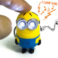 Wholesale New arrival Despicable me LED Keychain Key ring talking minions press button say I love you gift for lovers Light Up Toys