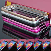 Wholesale For Galaxy S4 S5 Note Note Hippocampal Buckle Metal Bumper Frame Ultra thin Slim Aluminum Alloy Case Cover For Samsung I9500 I9600