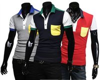 Cheap Free Shipping 2015 Summer Style New Sale In Stock S-XXL Good Quality Brand Men 's Polo Shirt Short Sleeve For Men Patchwork Polos 16-019