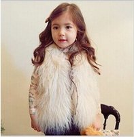Aisha baby black sheep - New Baby Girls Long Hair plush faux Sheep fur Warm Vest coat clothing Autumn Winter wear Clothes baby Children Waistcoat jacket CF01