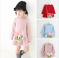 cotton dress materials - Kids Girl Autumn Winter Lovely Fashion Duck Bag Dress Colors Long Sleeve Kids Colorful Dress Height cm Two Material WX9127