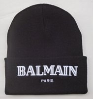 Wholesale 2015 Balmain Paris Beanie Hat Black Knitted Balmain Paris Beanies Hats Skull Cap Warm Winter Wool Caps For Unisex