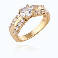 Wholesale Luxury K Gold Plated Unique Design Round Rhinestone Prong Setting Wedding Engagement Rings for Women X MZ141