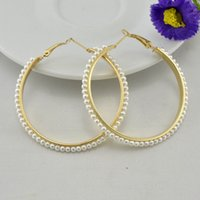 Wholesale New Fashion Women Jewelry Earring Pearl K Gold Plated Hoop Earrings Wedding Accessories