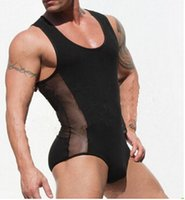 Wholesale Sexy Men s Underwear Bulge see through One pieces soft bodyshaper sexy Gay love Sheer Lingeries Monokinis sleepwear undershirts