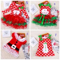al por mayor i santa tutú-UPS libre FedEx Ship 2016 muchachas de la Navidad Claus vestido de tutú Me encanta alineada de Santa vestidos de los niños del vestido de la manera del Bowknot Dot Año Nuevo linda