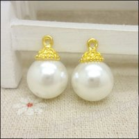 Wholesale 100 Gold color Flower bead cap imitation pearls pendant Fit Charms handmade Fashion Bracelet necklace jewelry accessories