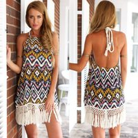 beach dress - New Fashion Style Sun Beach Dresses Vestidos Femininos Boho Tribal Printed Netted Fringe Tassel Women Dress Halter Summer Dress Nice Gift