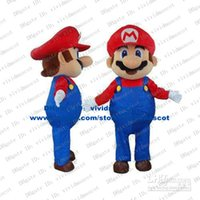 age mario - Hard working Red Super Mario Middle aged Mid Adult Men Mascot Costume With Big Pink Globe Nose Fat Belly White Gloves No FS