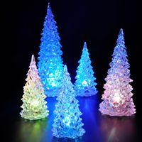 Wholesale Christmas Decorations Mini Acrylic Christmas Tree LED Lantern Night Lights Colorful LED Flash Tree Xmas Gift RJR6