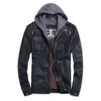 Cheap Fall-THOOO Brand Mens Leather Jackets Hoodie Jacket For Mens Good Quality PU Leather