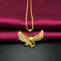 eagle pendant - A178 New Fashion Jewelry Vacuum Plating K Gold Necklaces Pendants Colorfast Eagle Pendants Women Best Gift