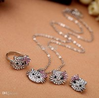 Wholesale New Fashion Crystal Cat Stud Earrings Rhinestone Hello Kitty Earrings Bowknot KT Jewelry For Girls Ring Earring and Necklace Set