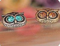 Wholesale NEW Vintage Style Jewellery Fashion womans OWL Earrings double sided earring E0007