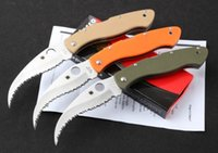 Cheap Spyderco Civilian C12-GS Folding Knife G-10 Handle Outdoor Knife Serrated Blade Knives C12GS Hunting Knife Free Shipping