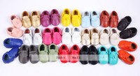 Wholesale Free Ship New Tassels Bow Style Baby Moccasins Soft Moccs Baby Shoes Kids Genuine Leather Newborn Baby Prewalker Babe Infant Shoes