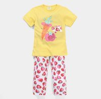 Cheap 2015 Summer New Children Clothes Girl Sets Fruit Print Short Sleeve T-shirts Pants Children 2 Piece Sets 2-7Y 2721