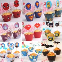 Wholesale 120PCS SET Party Decorations Event Cupcake Wrappers Superman Batman CupCake Toppers Picks Kids Birthday Supplies Party Favors