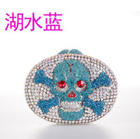 skull clutch - 2014 Direct Selling fashion punk skull with crystal rhinestone and red eye box evening clutch bag for women