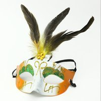 Wholesale Lady Indian feather rhinstone party Masks Bright Carnival Costumes Masks Mardi Gras Masks halloween Party Masks festival sexy make up mask