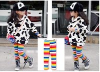 best warm leggings - 2014 new arrivel best price winter fleece warm rainbow children leggings long pants trousers