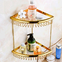Wholesale And Retail Polished Golden Brass Bathroom Shelf Dual Tiers Corner Shelf Storage Holder Solid Brass Wall Mounted